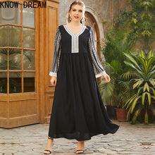Conheça o sonho plus tamanho feminino v-neck manga longa moda impressão mosaico dobra cintura moda vestido preto