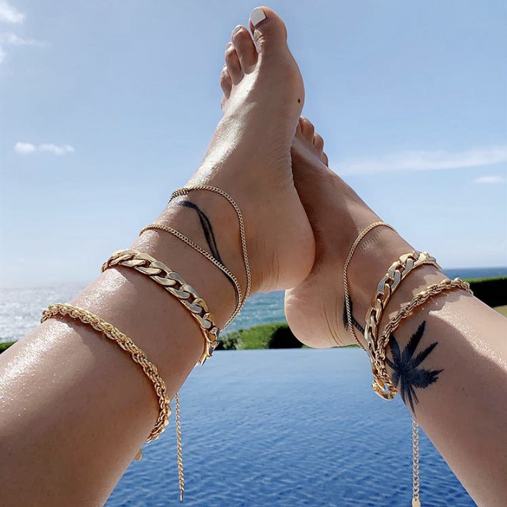 1PC Summer Beach Vintage Golden Cuba Link Chain Anklet For men Women Accessories Sexy Barefoot Ankle Bracelet Chain Foot Jewelry image