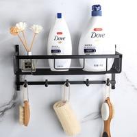 Brass Bathroom Shelf Cosmetic Rack Black/Chrome Shower Hanging Shelves Storage Rack Wall Mounted Bathroom Basket With Hook