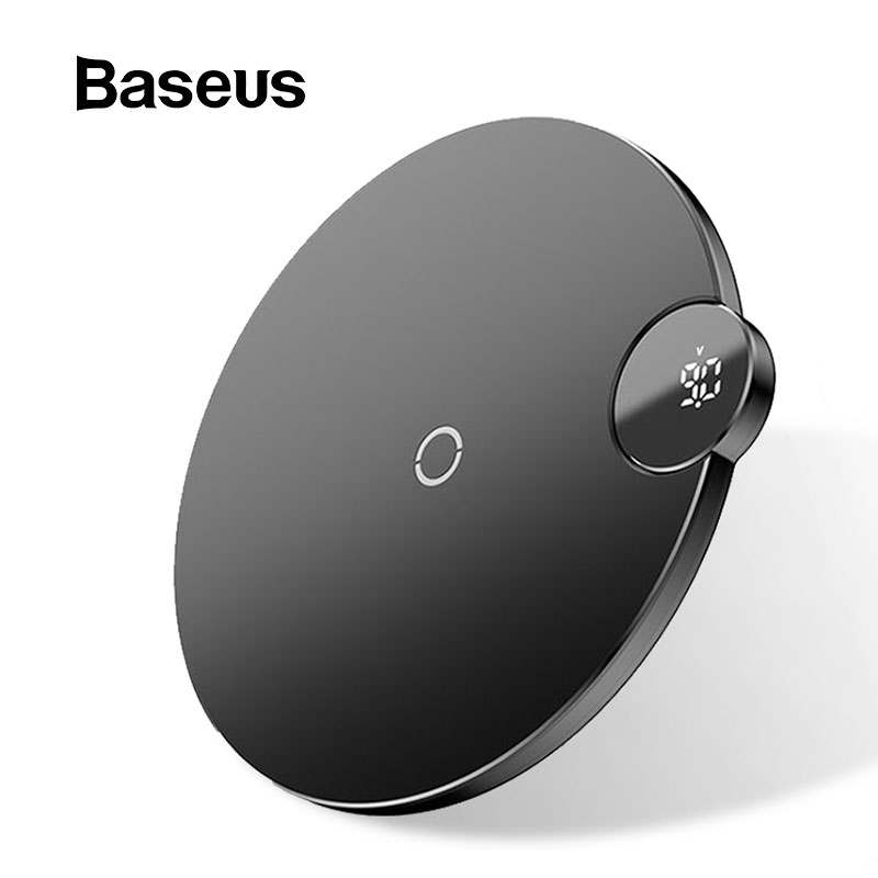 Baseus display led carregador sem fio para iphone x xs max xr 8 plus rápido carregador de telefone sem fio para samsung s10 s9 s8 xiaomi mi9
