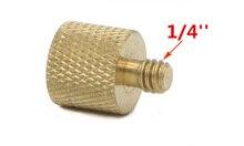 10 قطعة/الوحدة 3/8 بوصة أنثى إلى 1/4 بوصة ذكر ترايبود الموضوع المخفض محول النحاس النحاس للكاميرا ترايبود قطر المسمار 1/4
