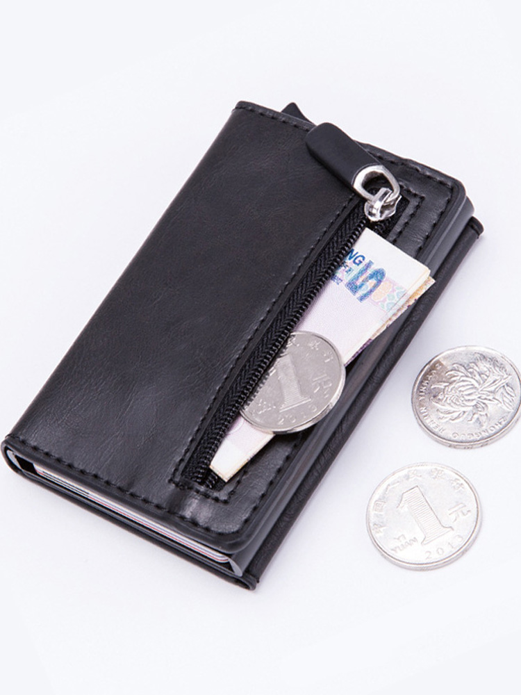 DIENQI Metal Wallet Case Coin-Purse Id-Card-Holder Anti-Rfid Mini Women Male with Zipper