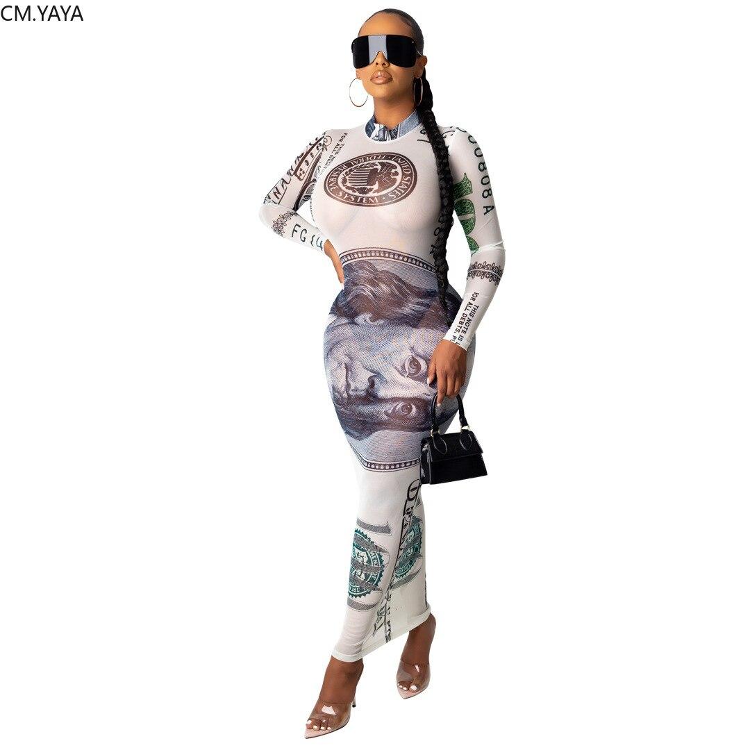 CM.YAYA Neue UNS Dollar Frauen Lange Maxi Kleid Mesh See Obwohl Sexy Party Night Club Eleganten Straße Tragen Verband Kleider vestidos