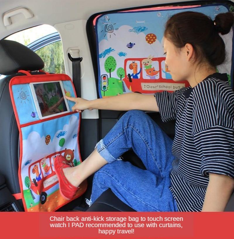 Cartoon Car Seat Back Anti-kick Pad Protection Film Seat Storage Bag Protective Pad Anti-kick Touch Screen Tidying Interior