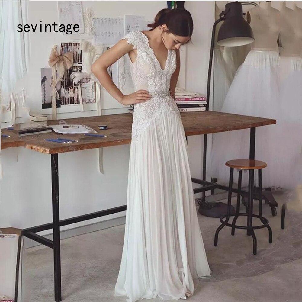 Light Beach Chiffon Wedding Dresses Lace Cap Sleeves Bridal Gowns Sexy V Neckline And Backless Crystal Waist Vestido De Noiva