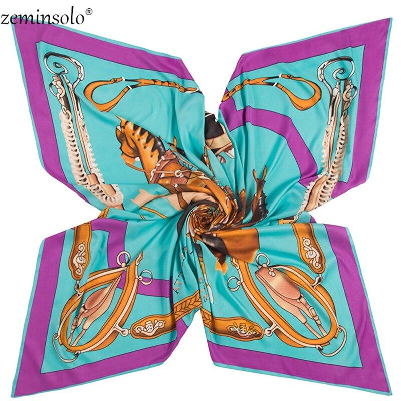 2020Twill Silk Scarf Square Scarf Bandana Horses Print Winter Scarves For Women Shawls Luxury Brand Silk Scarves Stoles Wraps