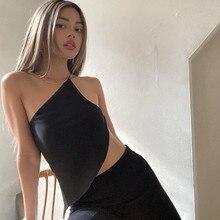 니버 섹시 클럽 칙 재봉 백리스 원 숄더 자르기 탑 스트리트 보그 고딕 탱크 탑 활동 여성 2021 캐주얼 캐미솔