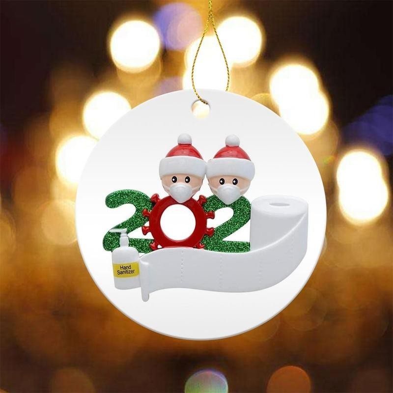 Christmas Toilet Paper Hanging Ornament 2020 Crisis Keepsake for Survived Family Christmas Tree Pendant Christmas Hanging Decorations 1pc