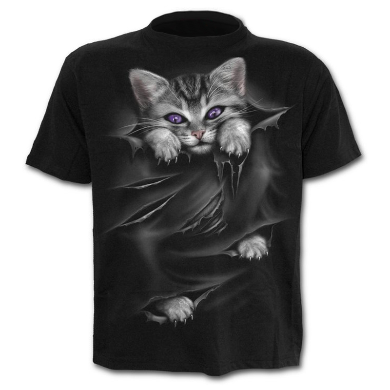 New Cool T-shirt With Cat Pattern Summer Casual Short Sleeve O-Neck Tops 3D Cat Printed Streetwear Animal Men Clothes