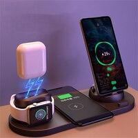 Estación de carga inalámbrica 6 en 1 para teléfonos iPhone/Android/USB tipo C, carga rápida Qi de 10W para Apple Watch AirPods Pro