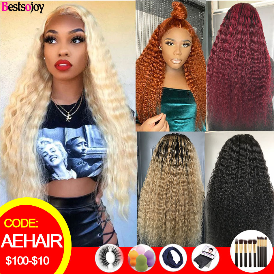 Bestsojoy 613 Blonde Curly Human Hair Wigs Ombre Lace Front Human Hair Wigs For Women Colored Burgundy Ginger Orange 8