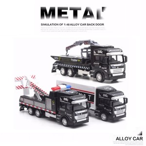 Scale 1:48 Alloy Pull Back Police Toy Car Model Simulation Traffic Rescue Truck Crane Transporter Models kids Toys For Boys