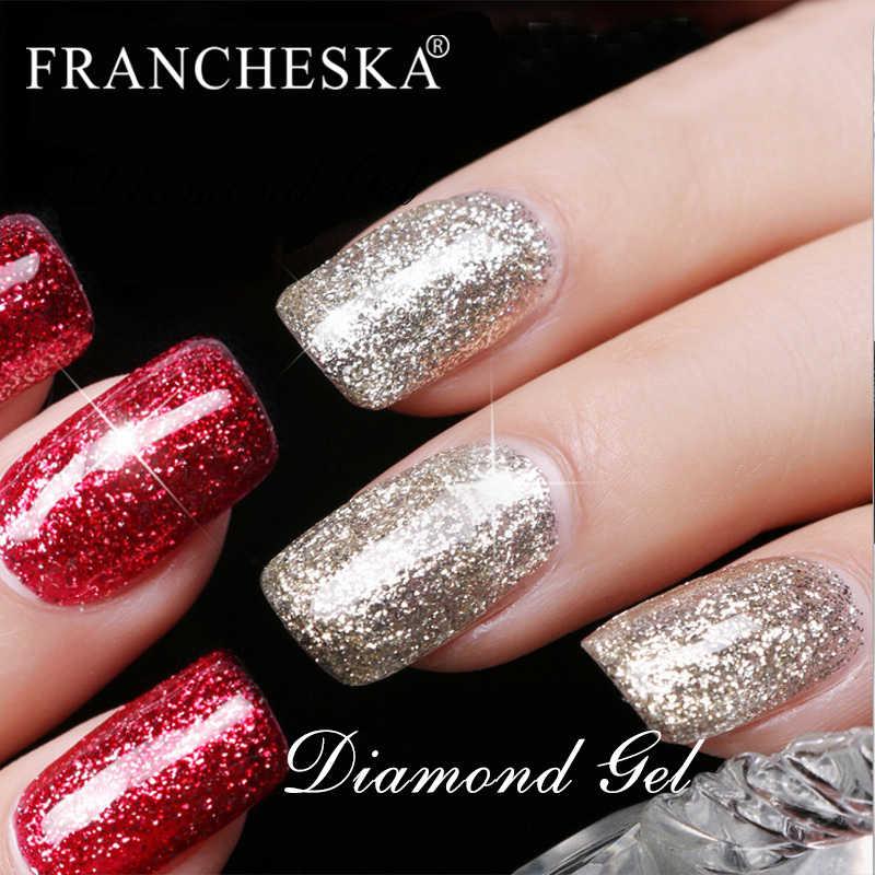 Francheska Tirnak Oje Platinum Gel Glitter Kuku Gel Polandia Pernis Rendam Off Semi Permanant Lakiery Hybrydowe Top Coat Base