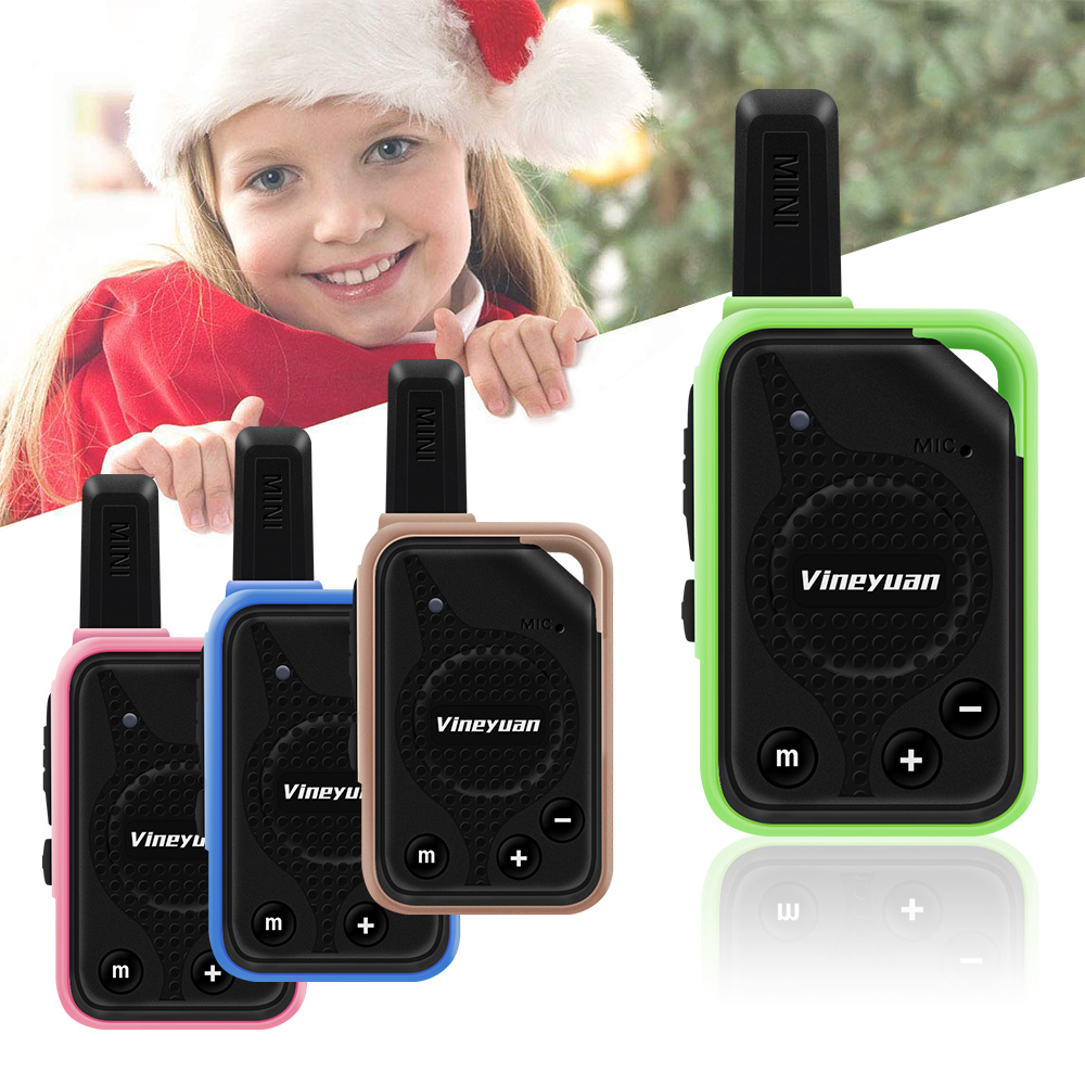 1 Pair Vineyuan Super Mini Walkie Talkie Kids Gifts Toys Two Way Radio 16 Channels CB Communicator Scanner With Earpiece