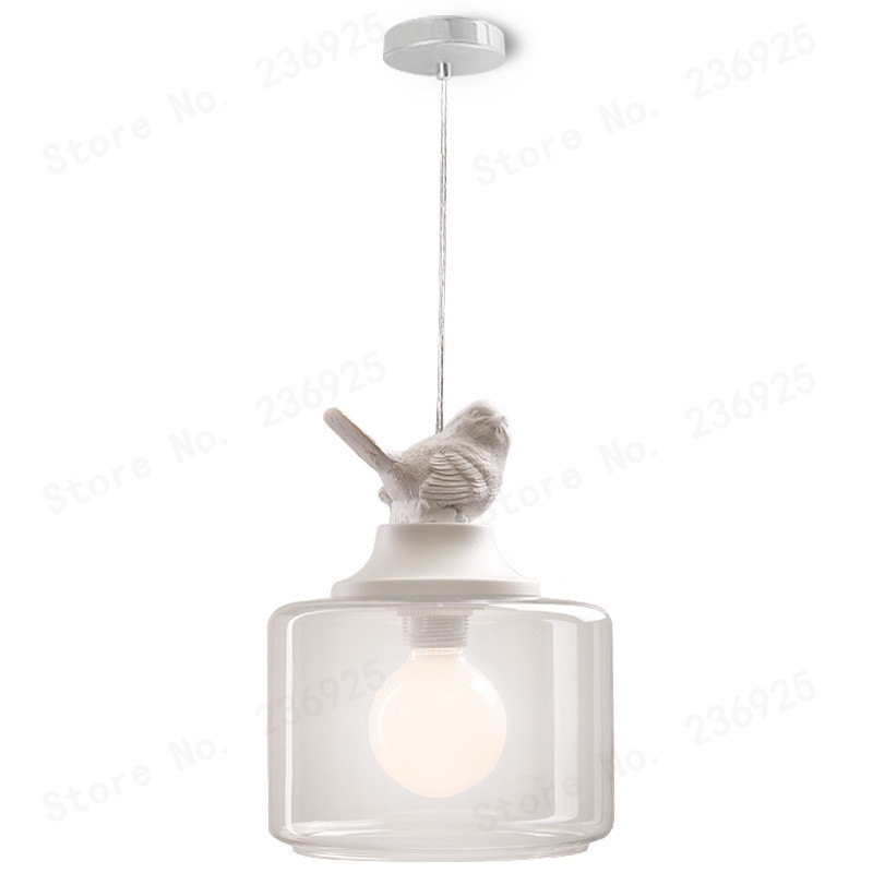 Lampe à suspension oiseau lampe créative 1 tête en verre Transparent Europe du nord lampes pour enfants lanternes lampe de salon
