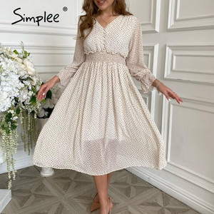 Simplee casual flare sleeve dress women Elegant V-neck Polka Dot print sash dress A-Line holiday female midi dress autumn 2020