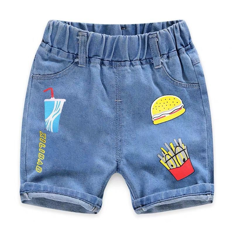 2020 Children Clothing Kids Jeans Summer Shorts Casual Hole Jeans Smiley Cowboy Baby Boy Clothes Cartoon Boys Denim Pants 2-8Y 4