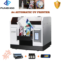 punehod uv led printer a4 automatic inkjet printer for phone case acrylic glass printing machine with free inks&bottle tray