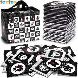 Toys Early-Education Black White And TEYTOY 26-Patterns Flash-Cards Puzzle Visual Washable-Fabric