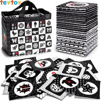 TEYTOY Black and White Soft Flash Cards, 26 Patterns Babies Visual Puzzle Early Education Toys, Washable Fabric Baby Toys high quality black white flash cards early education card high contrast concentration training flash card for babies 0 6 months
