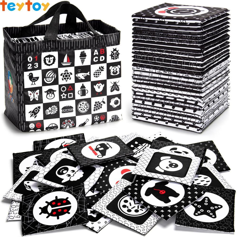 TEYTOY Schwarz und Weiß Weichen Flash Karten, 26 Muster Babys Visuelle Puzzle Frühen Pädagogisches Spielzeug, waschbar Stoff Baby Spielzeug
