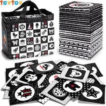 TEYTOY tarjetas Flash suaves en blanco y negro, 26 patrones bebés rompecabezas Visual juguetes educativos para edades tempranas, juguetes de tela lavable para bebés