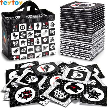 TEYTOY Black and White Soft Flash Cards, 26 Patterns Babies Visual Puzzle Early Educational Toys, Washable Fabric Baby Toys