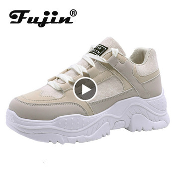 Fujin Platform Sneakers Chunky Spring  Summer Casual Shoes Vulcanized for Women Female Lace Up Womens