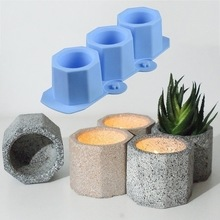 Silicone Mold Candlestick-Mold Clay Crafts Flower-Pot Concrete Ceramic DIY Octagonal