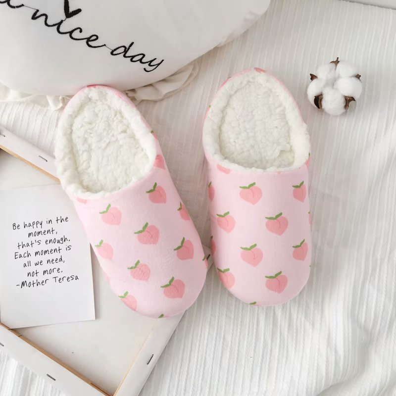 Pink Peach Series Home Slippers Ladies New Peach Print Home Slippers Fashion Fruit Series Home Slippers for Girls