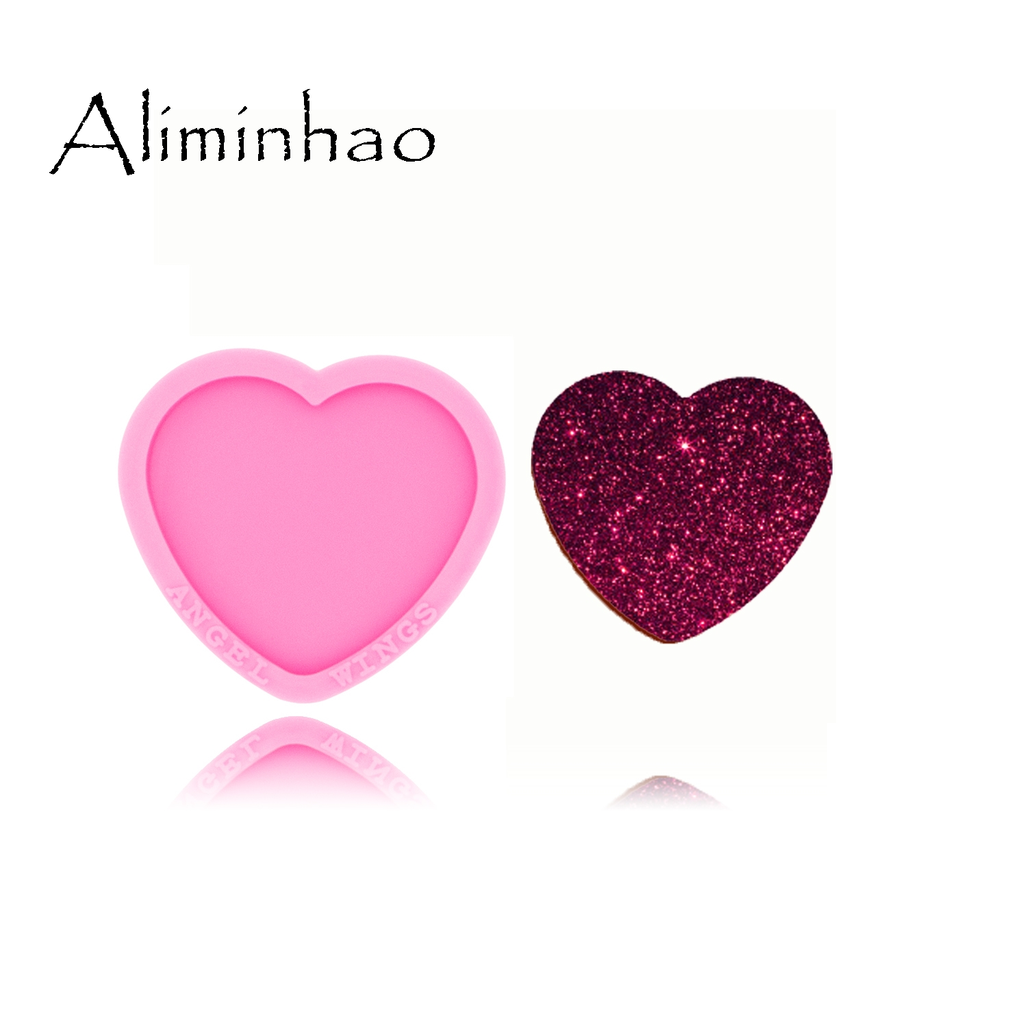 DY0450 Shiny Glossy Heart Shape Mould Crafting Love Silicone Epoxy Resin Mold Badge Reel As Well