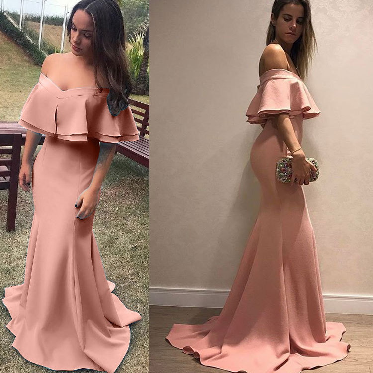 Hot Selling 2019 Autumn WOMEN'S Dress New Style Europe And America Sexy Off-the-Shoulder Dress Sheath Formal Dress Long Skirts