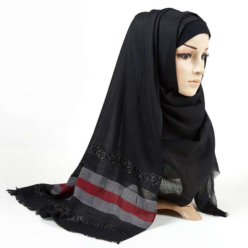 Cotton Striped Scarf Hijab Solid Fringed Shawls Plain Shimmer Maxi Glitter Muslim Long Muslim Head Wrap Turbans Scarves/scarf