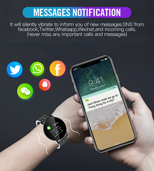 2021 New 119S Full Touch Smart Watch Men Women Sports Clock IP67 Waterproof Heart Rate Monitor Smartwatch For IOS Android Phone 6