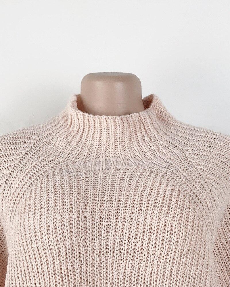 de comprimento gola alta pullovers camisola de