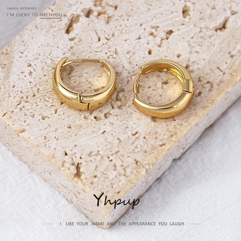 Yhpup массивные круглые полые серьги кольца для женщин простой Золотистый металлический серьги новые ювелирные изделия Orecchini Donna подарок 2020|Серьги-кольца|   | АлиЭкспресс