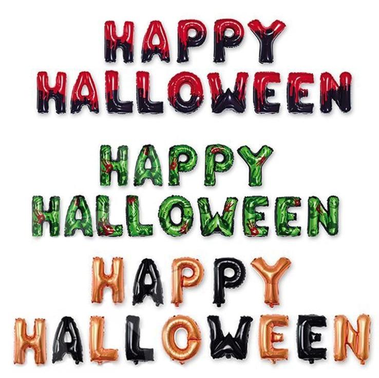 14 pz/set 16 pollici rosso verde Happy Halloween Alfabeto Balloon Famiglia Festa di Halloween Sfondo Banner Decorazione Lettere Palloncini