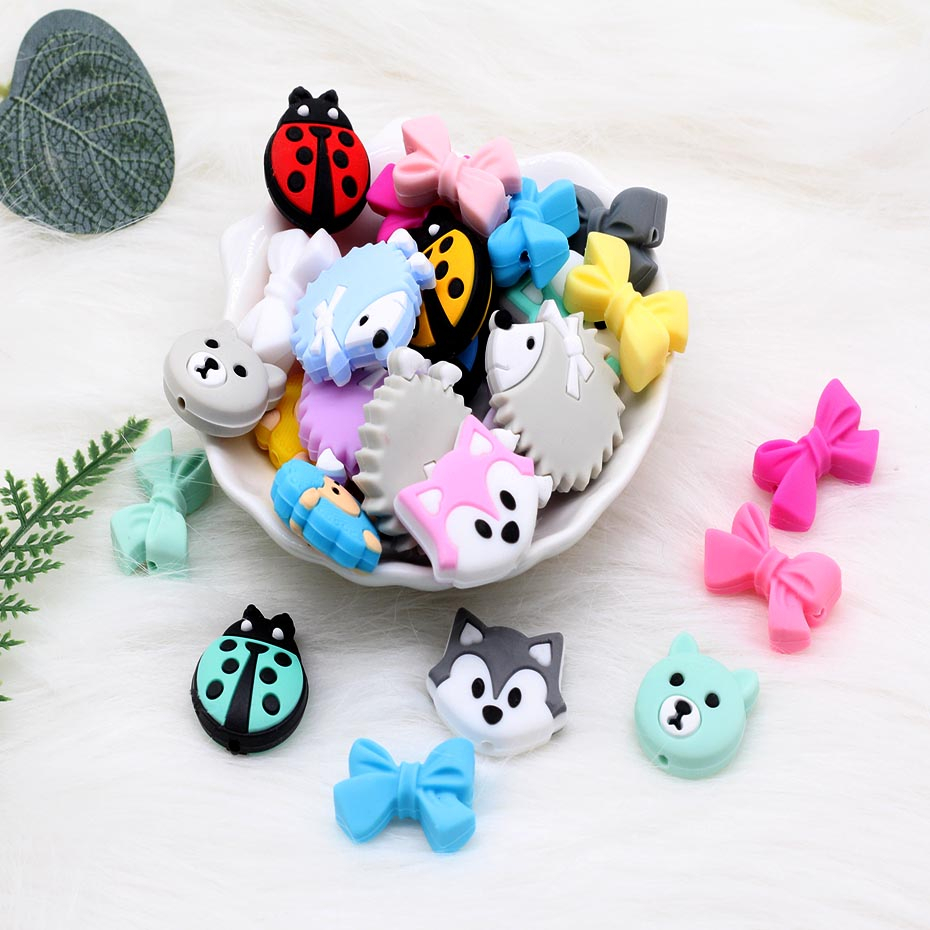 5pc/lot Cartoon Silicone Beads Food Grade Mini Sheep Bow Puppy Silicone Teething Beads Bpa Free Mini Silicone Teether Toy