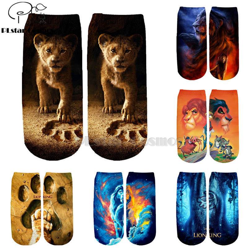 PLstar Cosmos Hot Sell Casual The Lion King Simba Cotton Socks Colorful Brand Warm Cartoon Short Ankle Halloween Socks-1