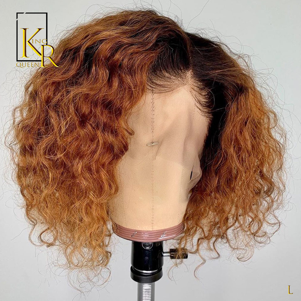 Ombre Short Curly Bob 1B/27Color 13x4 Lace Front Human Hair Wigs Brazilian Remy 130% Density Hair Bleached Knots King Rosa Queen