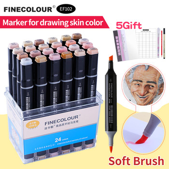 Finecolour Skin Hair Colors Art Soft Marker Brush Sketch Manga Pen Dual Tip Set Portrait 12/24/36 Permanent Alcohol Based Marker цена 2017