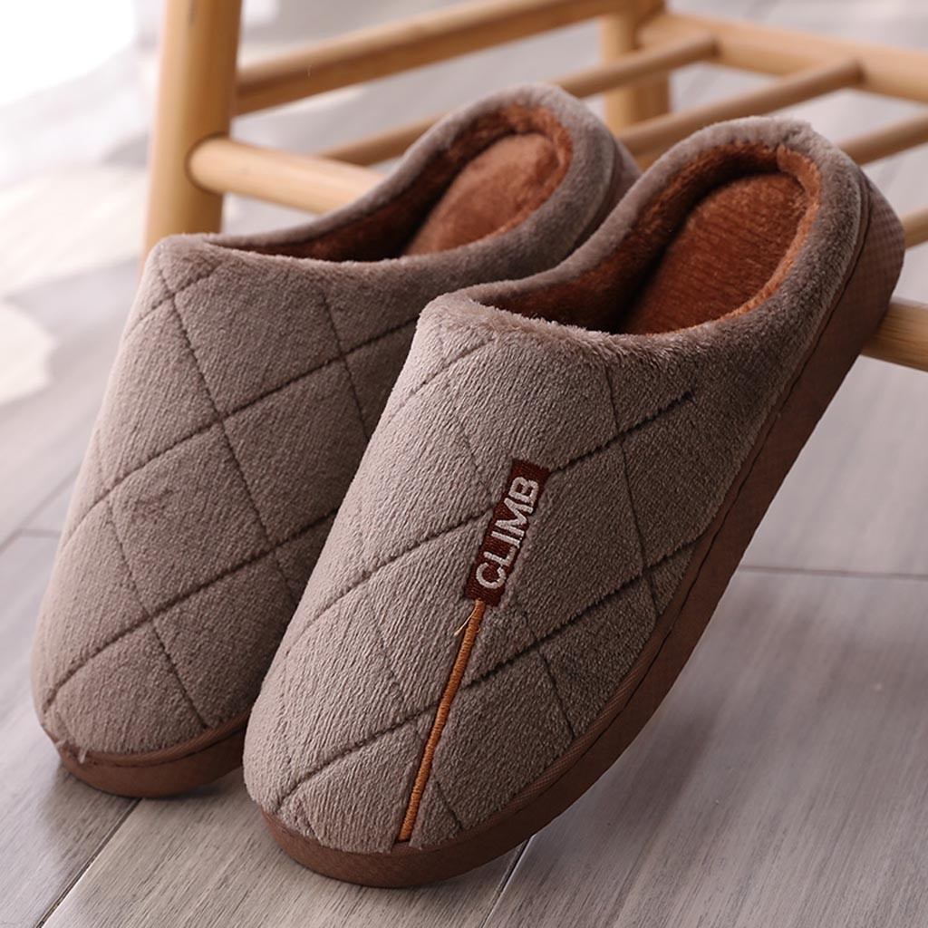 Men Casual Indoor Shoes Home Indoor Slippers Striped Soft Plush Male House Bedroom Slippers Warm Winter Cotton Slippers Shoes