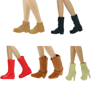 5 Pairs/Pack High Quality Doll Shoes for Barbie Doll Daily Casual Wear Boots Flat Shoes High Heels Shoes Doll Accessories Toy