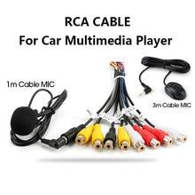 Jmcq rádio do carro rca saída cabo de fio com microfone saída de vídeo/entrada áudio subwoofer microfone opcional