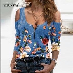 Vintage Floral Print Off Shoulder Blouses Shirts Casual Sexy Zipper V Neck Pullover Tops Spring Women Chic Long Sleeve Blusa 3XL