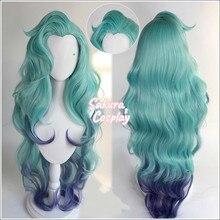 LoL Seraphine Cosplay KDA Градуированный синий фиолетовый длинный кудрявый термостойкий синтетический волос Хэллоуин карнавальвечерние + бесплатная ...