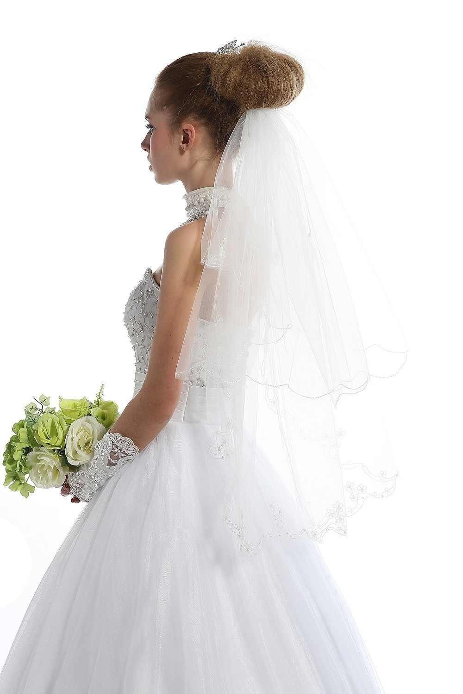 Elfenbein Spitze Stickerei Hochzeit Schleier 2 Tier Kurze Braut Schleier mit Perlen