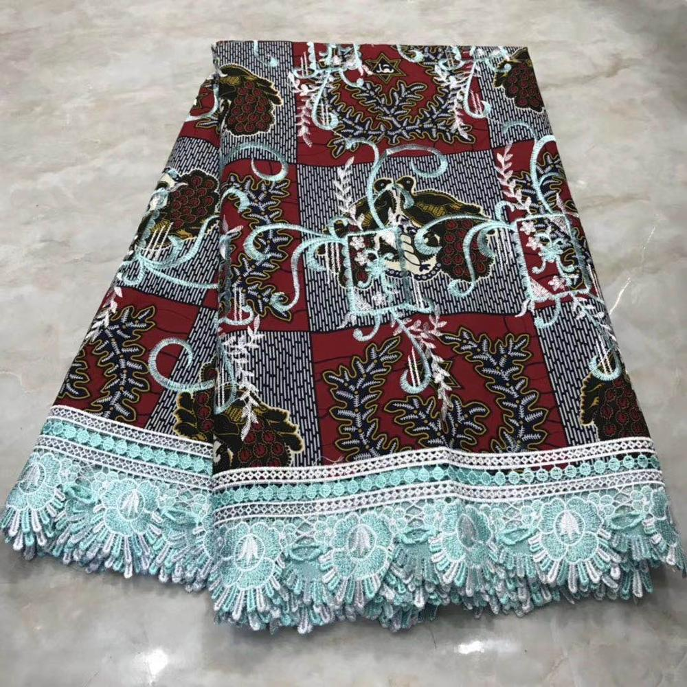 2020 Ankara Wax Lace Fabric 100% Cotton Embroidery Wax With Lace Material Ghana African Fabric Wax Print For Dress Party Batik