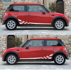 Image 2 - 2 pçs listras laterais da porta do carro saia corpo decalque corrida treliça estilo adesivos para mini cooper r50 r52 r53 r56 f56 r60 acessórios