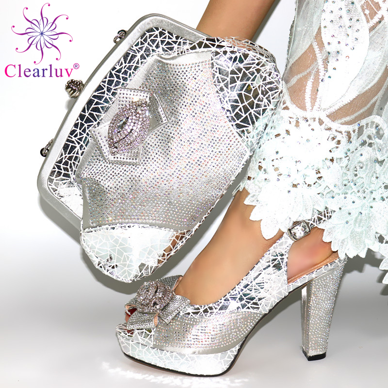 2020 New silver Color Fashion Rhinestone Woman Shoes And Matching Bag Set Nigerian Style Pumps for Party